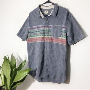 Vans Tribal Print Short Sleeve Button Down Size L